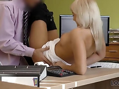 LOAN4K Insatiable clerk lures the stunning chick into having a hook-up session