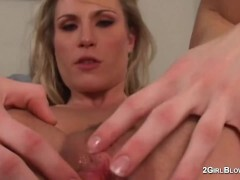 Harmony Rose in bitch cuckold scenes of creampie slurping hot wife dominatrix while spouse watches and is locked in chastity