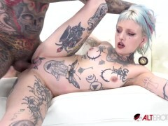 Pierced and tatted cutie gets stuffed by a big shaft