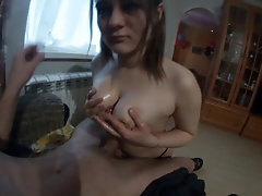 Beauty jerks me off with her tits part 2.