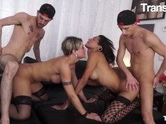 TRANSBELLA - BUSTY LATINA Shemales HARDCORE Anal invasion WITH 2 HORNY GUYS
