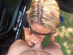 Wife is dogging at the park and pounds a stranger with facial