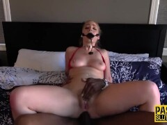 Ballgagged blonde submissive gets cocksluts anally fucked and toys