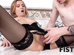 FIST4K Tongue and cock scorching woman but she needs fist in arse for gratification