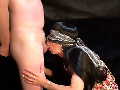 The holder pounds his Slave in the throat and booty and ends on her.