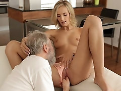 OLD4K After drinking tea woman and her old husband have hookup on the sofa