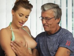 DADDY4K Excited belle is in the mood for an affair with BFs dad