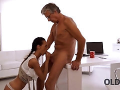 OLD4K Black-haired secretary facialized after so wished lovemaking with old boss