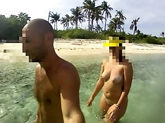 THE WALKING Bare - Unexperienced Russian couple!