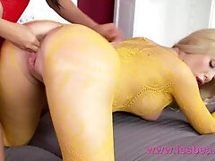 Lesbea Taut cunt Asian facesitting on thick knockers blonde in crotchless lace