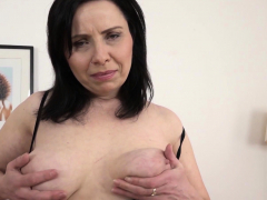 Mature with innate hooters gets a creampie in her hairy pussy!