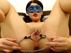 beaver stretched with nipples clamps, close up and fingering