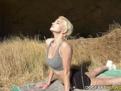 Skye Blue Takes Fat Black Hard-on After Outdoor Yoga