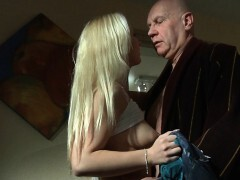 Old man screwing his much more junior light-haired girlfirend